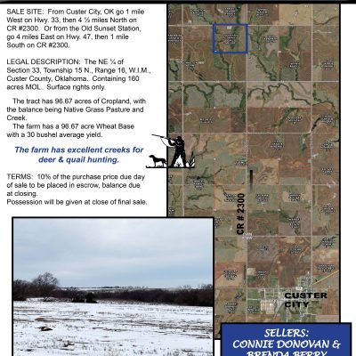 160 ACRES CUSTER COUNTY FARM & GRASSLAND NORTH OF CUSTER CITY – TUES., FEBRUARY 2, 2021