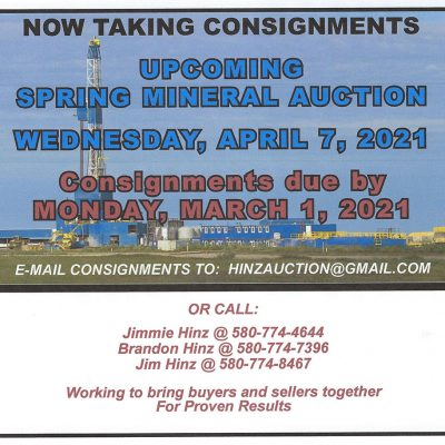 SPRING MINERAL AUCTION – WEDNESDAY, APRIL 7, 2021