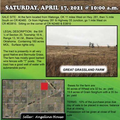 160 ACRES BLAINE COUNTY FARM & GRASSLAND BY THOMAS, OK – SATURDAY, APRIL 17, 2021