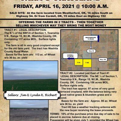 274 ACREW WASHITA COUNTY FARM & GRASSLAND – FRIDAY, APRIL 16 @ 10:00 A.M.