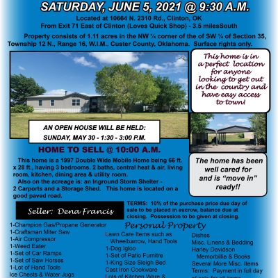 MOBILE HOME BETWEEN CLINTON & WEATHERFORD ON ACREAGE – SATURDAY, JUNE 5 @ 9:30 A.M.