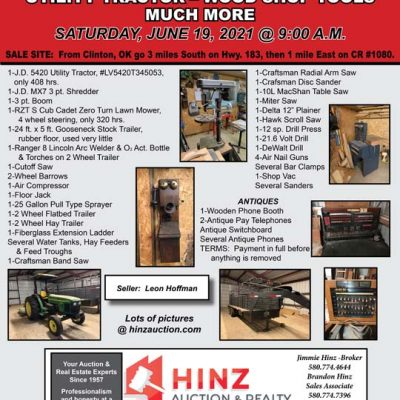UTILITY TRACTOR – WOOD SHOP TOOLS – ANTIQUES – MUCH MORE – SATURDAY, JUNE 19, 2021 @ 9:00 A.M.