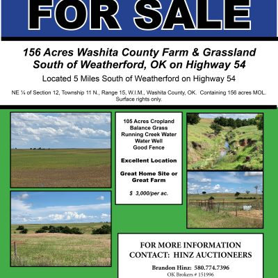 LISTED FOR SALE – 156 ACRES SOUTH OF WEATHERFORD ON HWY. 54