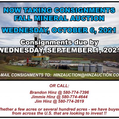 FALL MINERAL AUCTION – WEDNESDAY, OCTOBER 6, 2021