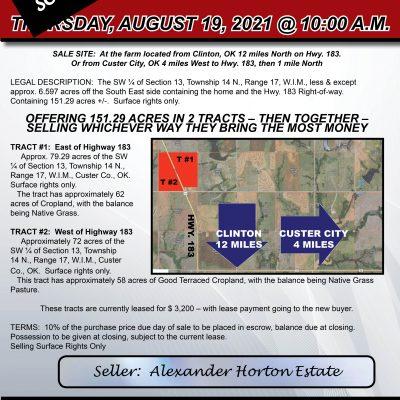 151 AC. CUSTER COUNTY FARM & GRASSLAND – THURSDAY, AUGUST 19, 2021 @ 10:00 AM