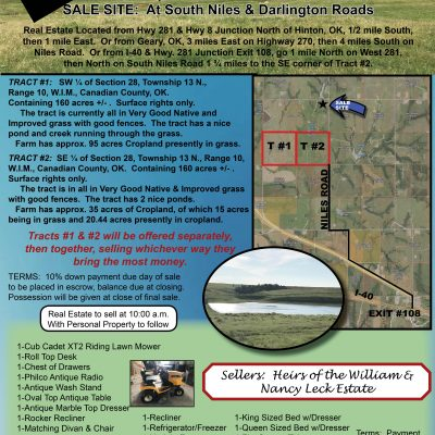 320 ACRES CANADIAN COUNTY GRASSLAND & HOUSEHOLD FURNISHINGS – THURSDAY, AUGUST 12 @ 10:00 A..M.